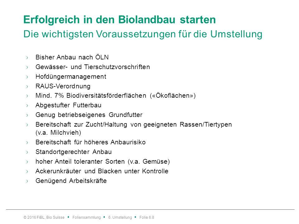 Erfolgreich in den Biolandbau starten Die wichtigsten Voraussetzungen für die Umstellung ›Bisher Anbau nach ÖLN ›Gewässer- und Tierschutzvorschriften