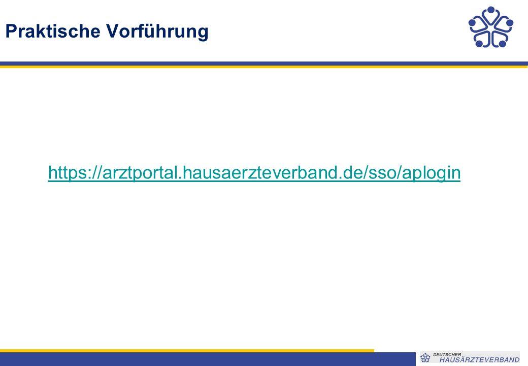 Praktische Vorführung https://arztportal.hausaerzteverband.de/sso/aplogin