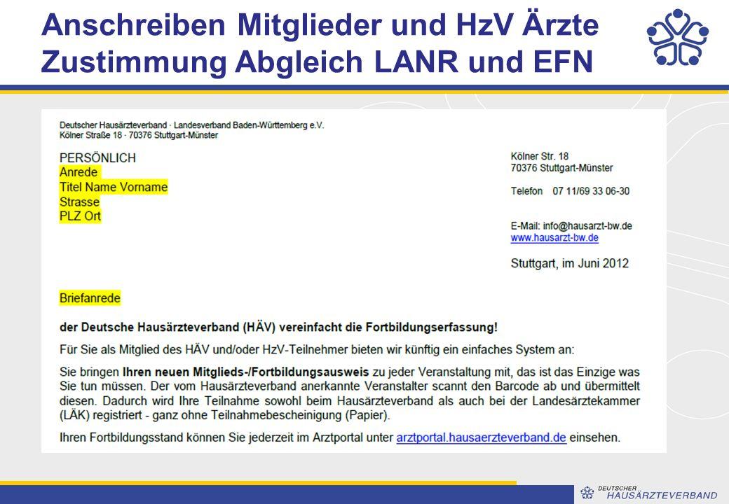 Anschreiben Mitglieder und HzV Ärzte Zustimmung Abgleich LANR und EFN
