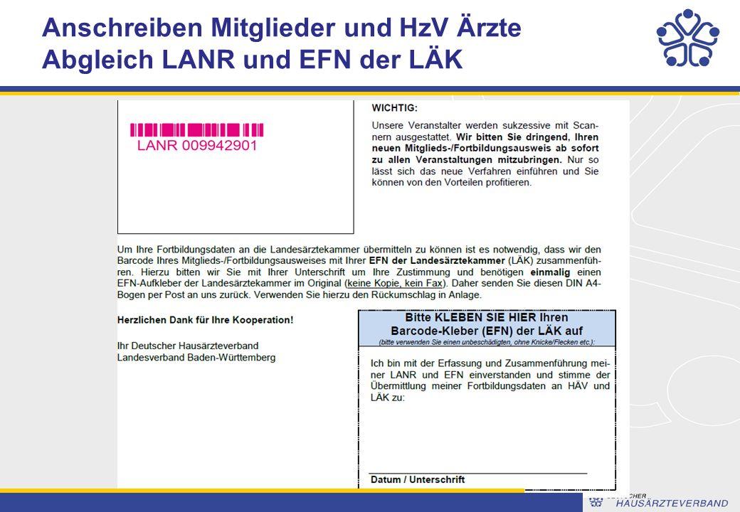 Anschreiben Mitglieder und HzV Ärzte Abgleich LANR und EFN der LÄK