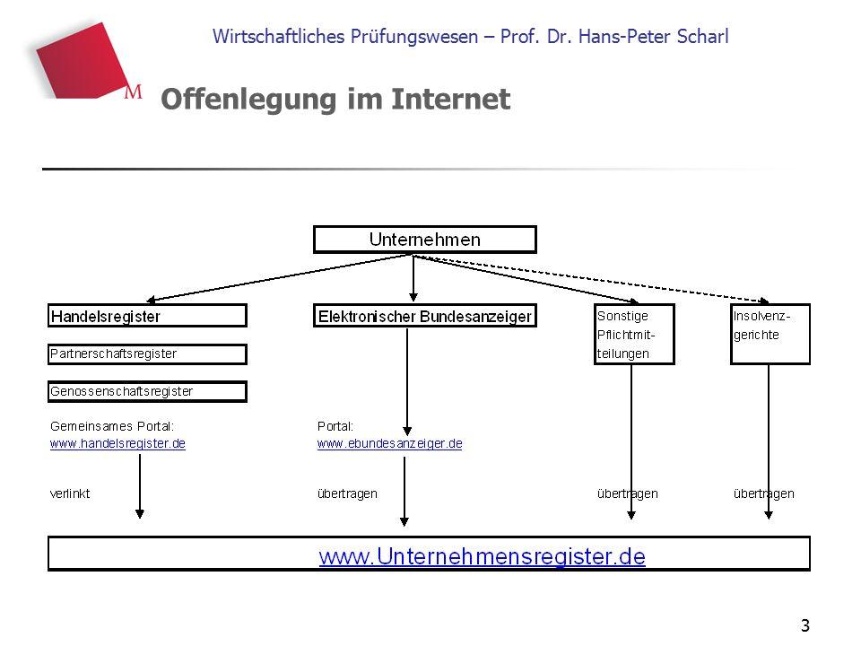3 Wirtschaftliches Prüfungswesen – Prof. Dr. Hans-Peter Scharl Offenlegung im Internet