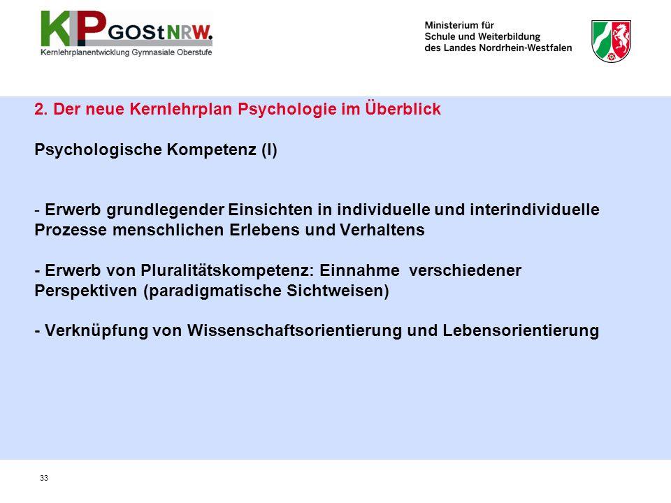 2. Der neue Kernlehrplan Psychologie im Überblick Psychologische Kompetenz (I) - Erwerb grundlegender Einsichten in individuelle und interindividuelle