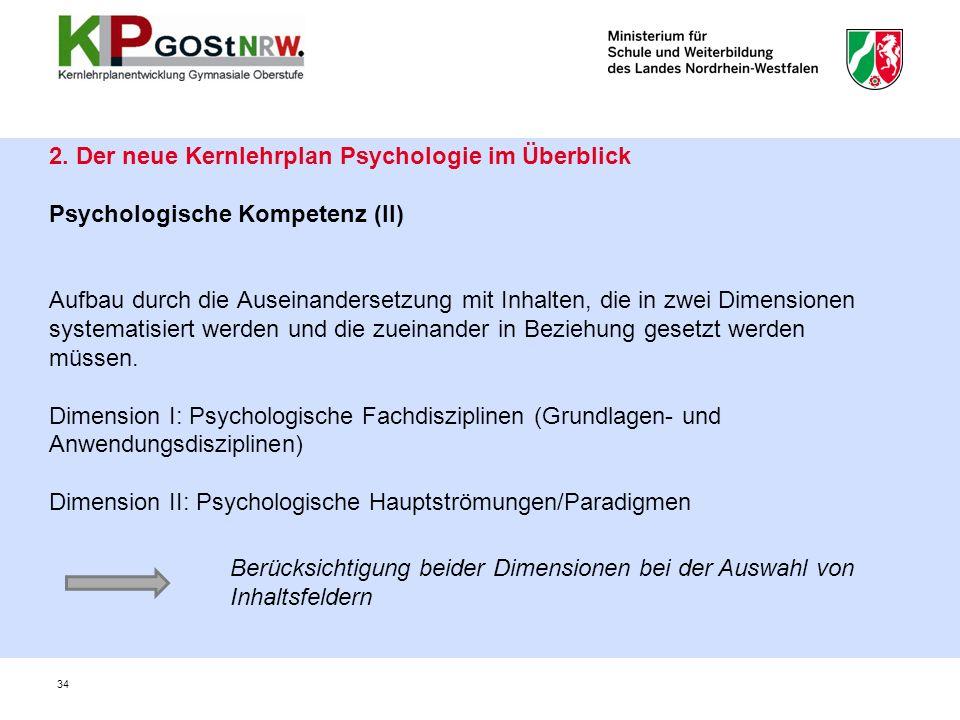 2. Der neue Kernlehrplan Psychologie im Überblick Psychologische Kompetenz (II) Aufbau durch die Auseinandersetzung mit Inhalten, die in zwei Dimensio
