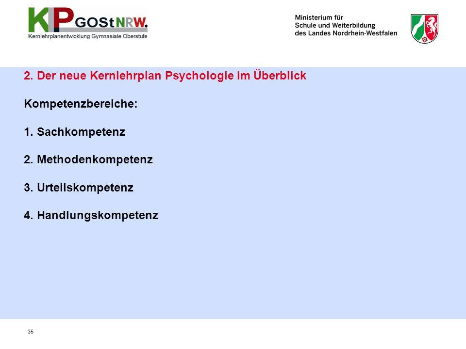 2. Der neue Kernlehrplan Psychologie im Überblick Kompetenzbereiche: 1.