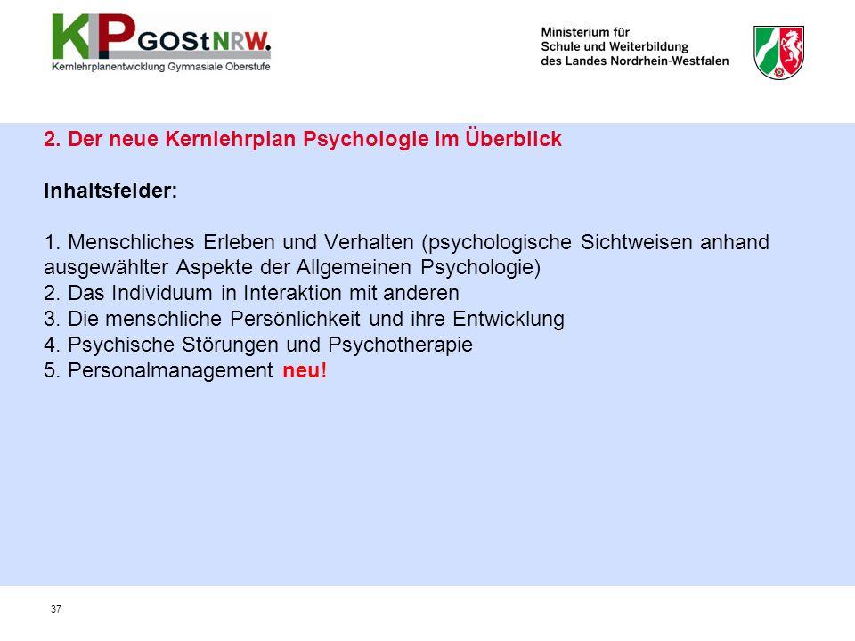 2. Der neue Kernlehrplan Psychologie im Überblick Inhaltsfelder: 1.