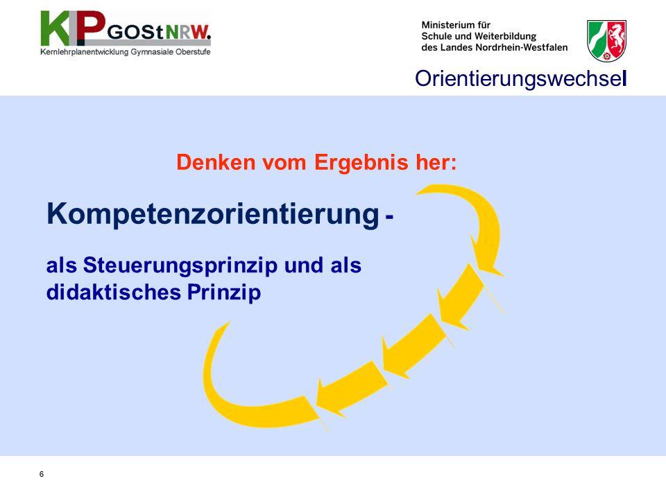 66 als Steuerungsprinzip und als didaktisches Prinzip Kompetenzorientierung - Orientierungswechsel Denken vom Ergebnis her: