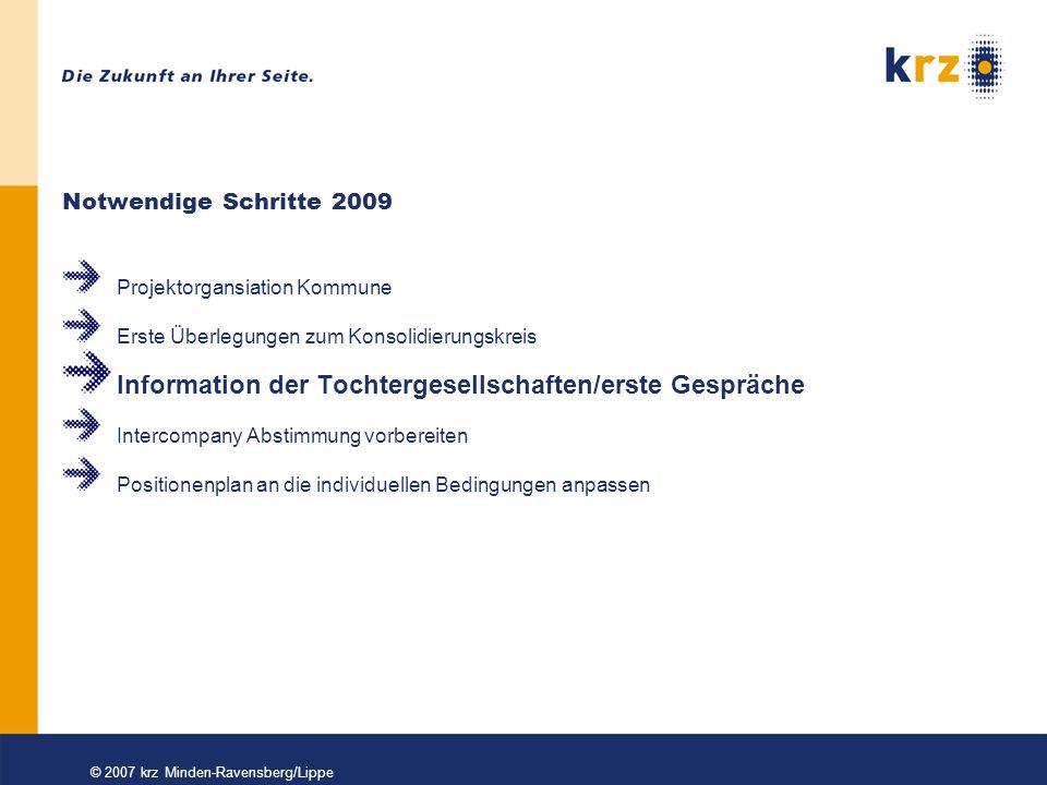 © 2007 krz Minden-Ravensberg/Lippe Information der Tochtergesellschaften Frühzeitige Besprechung mit den in Frage kommenden Tochtergesellschaften Zuständigkeiten, Termine und Strukturen klären Fortbildungsbedarf bei den Tochtergesellschaften.