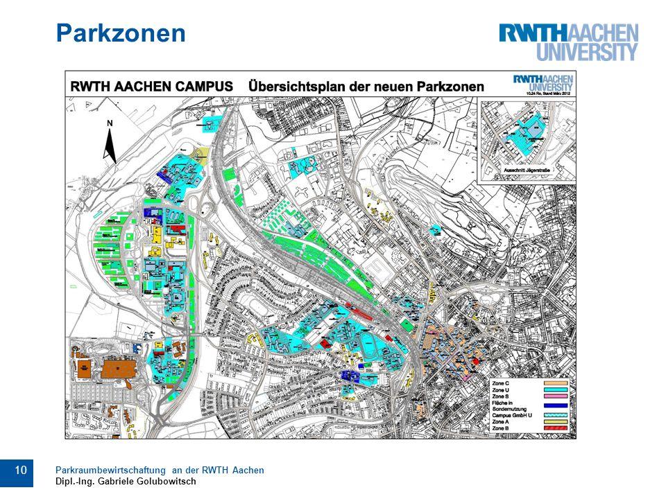 Parkzonen 10 Parkraumbewirtschaftung an der RWTH Aachen Dipl.-Ing. Gabriele Golubowitsch
