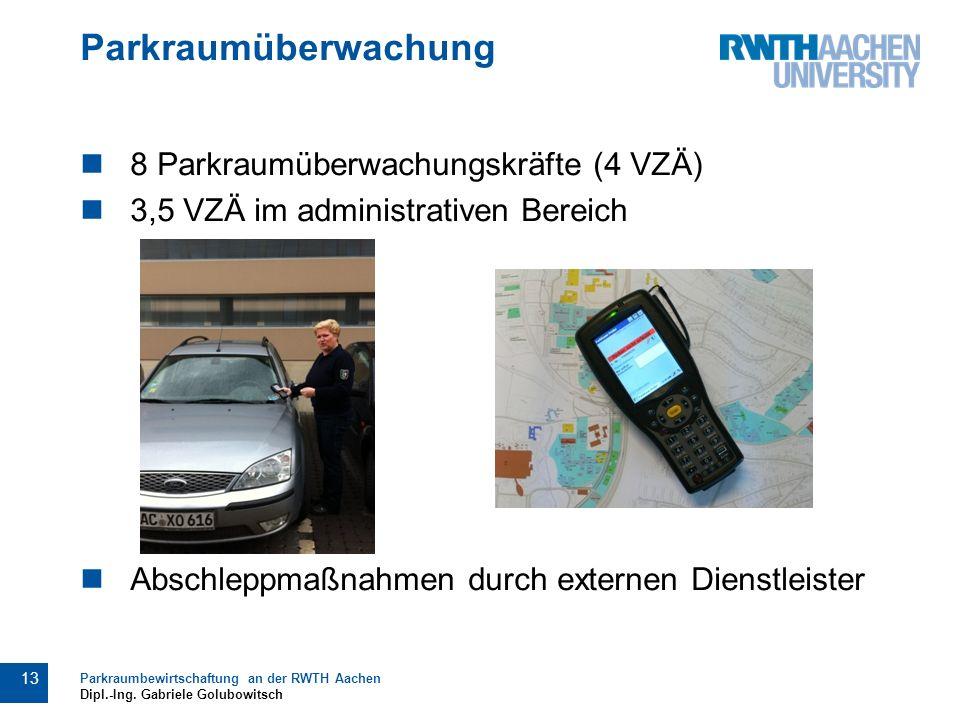 Parkraumüberwachung 8 Parkraumüberwachungskräfte (4 VZÄ) 3,5 VZÄ im administrativen Bereich Abschleppmaßnahmen durch externen Dienstleister 13 Parkraumbewirtschaftung an der RWTH Aachen Dipl.-Ing.