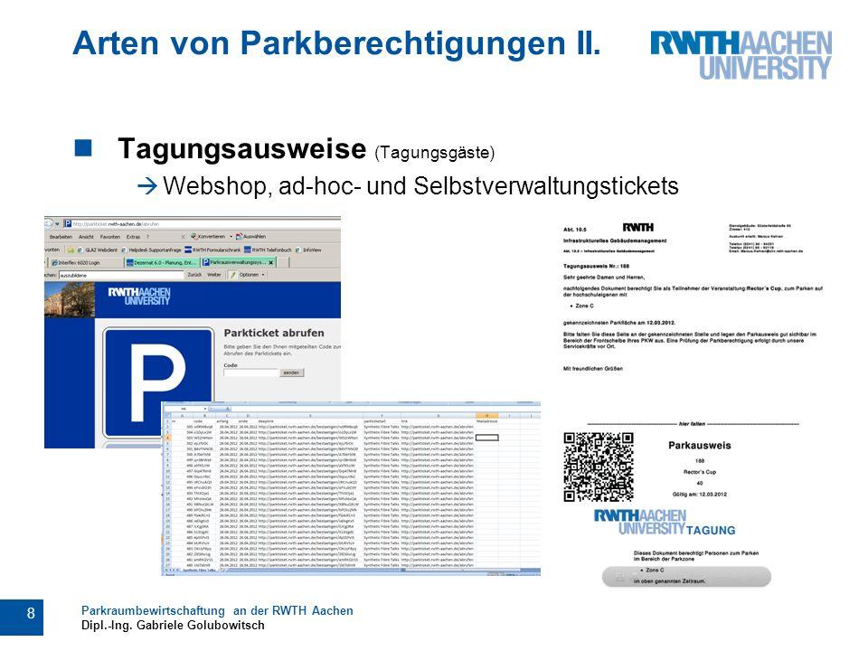Arten von Parkberechtigungen II.