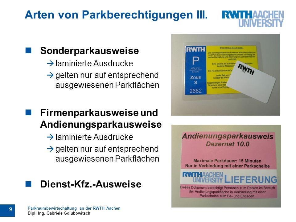 Arten von Parkberechtigungen III.