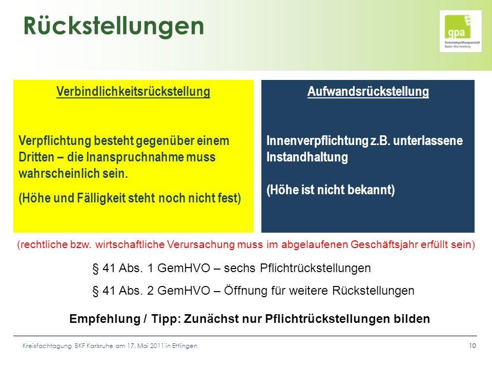 Kreisfachtagung BKF Karlsruhe am 17. Mai 2011 in Ettlingen10 Rückstellungen Verbindlichkeitsrückstellung Verpflichtung besteht gegenüber einem Dritten