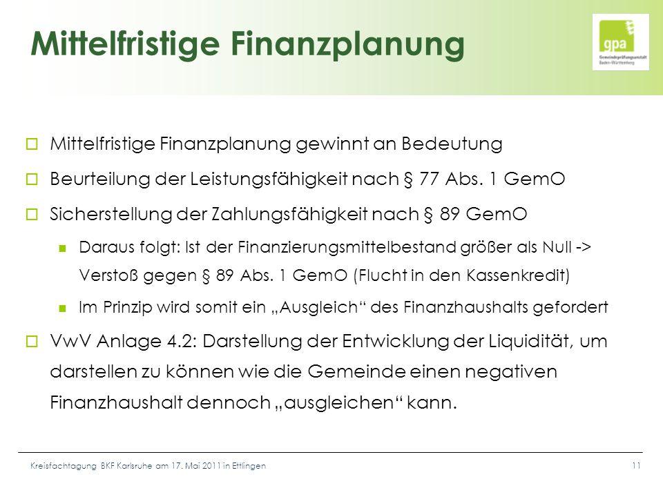 Kreisfachtagung BKF Karlsruhe am 17. Mai 2011 in Ettlingen11 Mittelfristige Finanzplanung  Mittelfristige Finanzplanung gewinnt an Bedeutung  Beurte