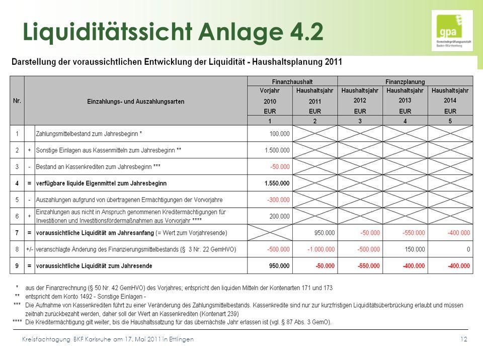 Kreisfachtagung BKF Karlsruhe am 17. Mai 2011 in Ettlingen12 Liquiditätssicht Anlage 4.2