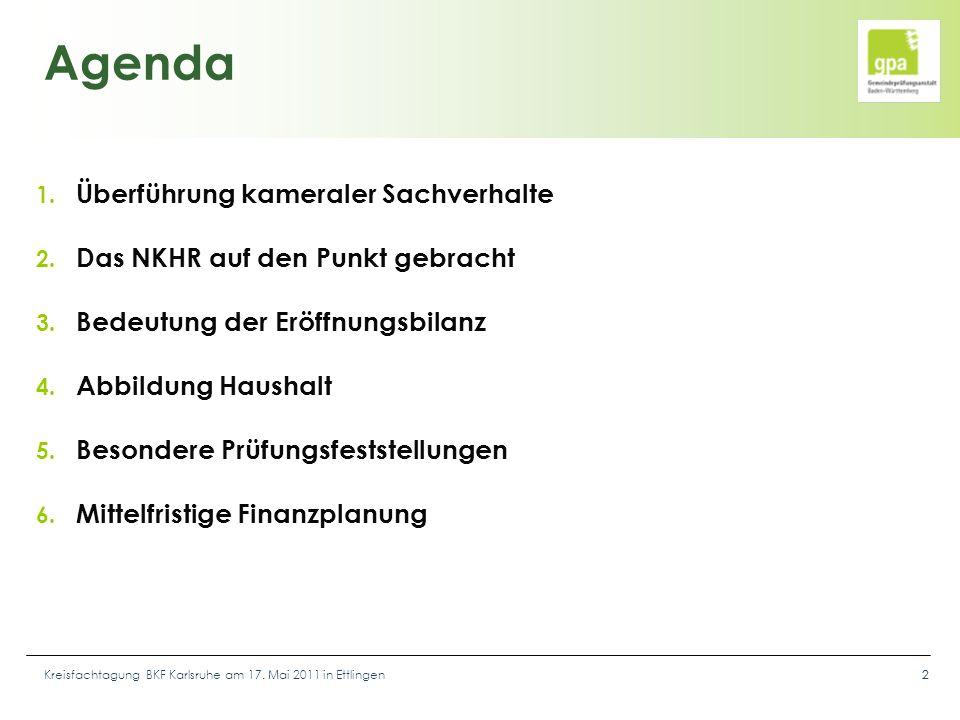 Kreisfachtagung BKF Karlsruhe am 17. Mai 2011 in Ettlingen22 Agenda 1. Überführung kameraler Sachverhalte 2. Das NKHR auf den Punkt gebracht 3. Bedeut