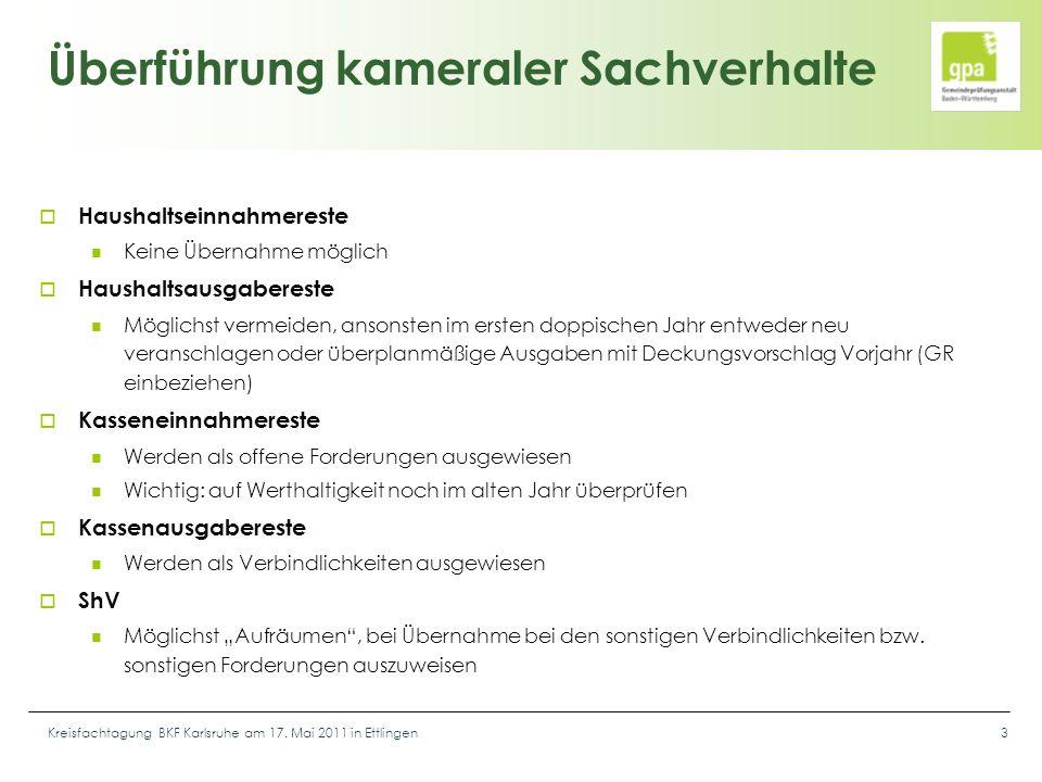 Kreisfachtagung BKF Karlsruhe am 17. Mai 2011 in Ettlingen3 Überführung kameraler Sachverhalte  Haushaltseinnahmereste Keine Übernahme möglich  Haus
