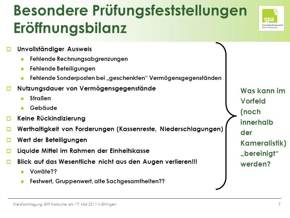 Kreisfachtagung BKF Karlsruhe am 17. Mai 2011 in Ettlingen7 Besondere Prüfungsfeststellungen Eröffnungsbilanz  Unvollständiger Ausweis Fehlende Rechn