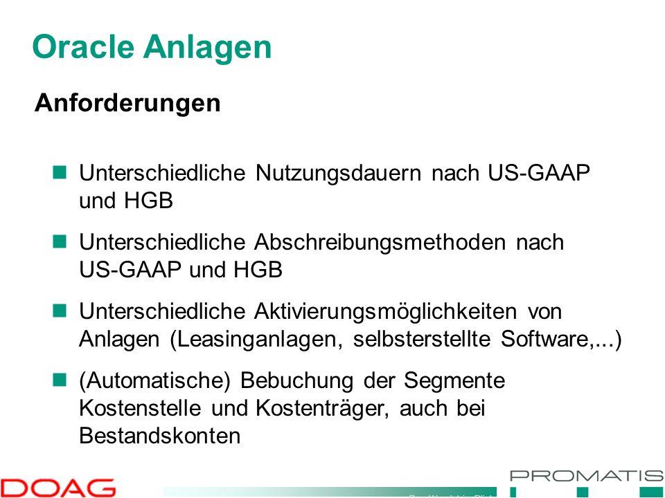 Den Wandel im Blick Oracle Anlagen Anforderungen Unterschiedliche Nutzungsdauern nach US-GAAP und HGB Unterschiedliche Abschreibungsmethoden nach US-G