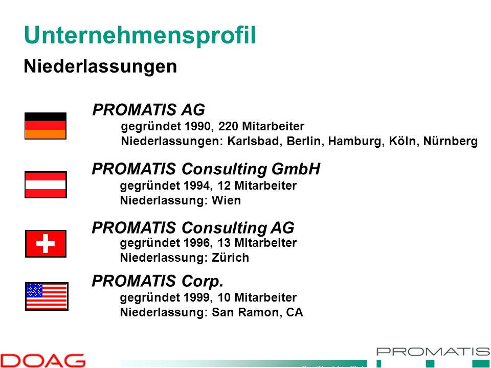 Den Wandel im Blick Niederlassungen PROMATIS AG gegründet 1990, 220 Mitarbeiter Niederlassungen: Karlsbad, Berlin, Hamburg, Köln, Nürnberg gegründet 1