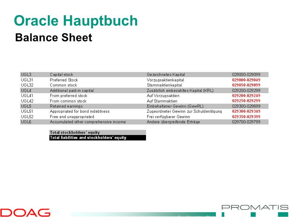 Den Wandel im Blick Oracle Hauptbuch Balance Sheet