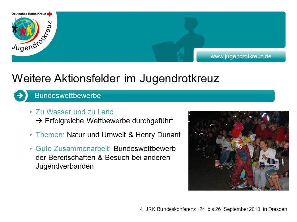 www.jugendrotkreuz.de Bundeswettbewerbe Zu Wasser und zu Land  Erfolgreiche Wettbewerbe durchgeführt Themen: Natur und Umwelt & Henry Dunant Gute Zusammenarbeit: Bundeswettbewerb der Bereitschaften & Besuch bei anderen Jugendverbänden 4.
