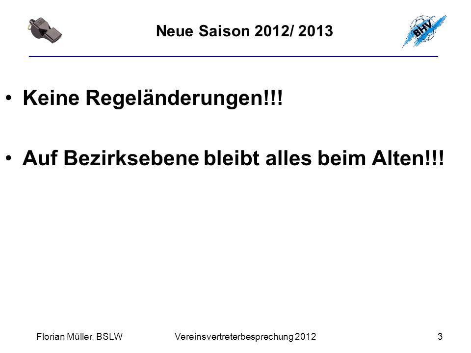 ________________________________________________________ Neue Saison 2012/ 2013 Keine Regeländerungen!!.