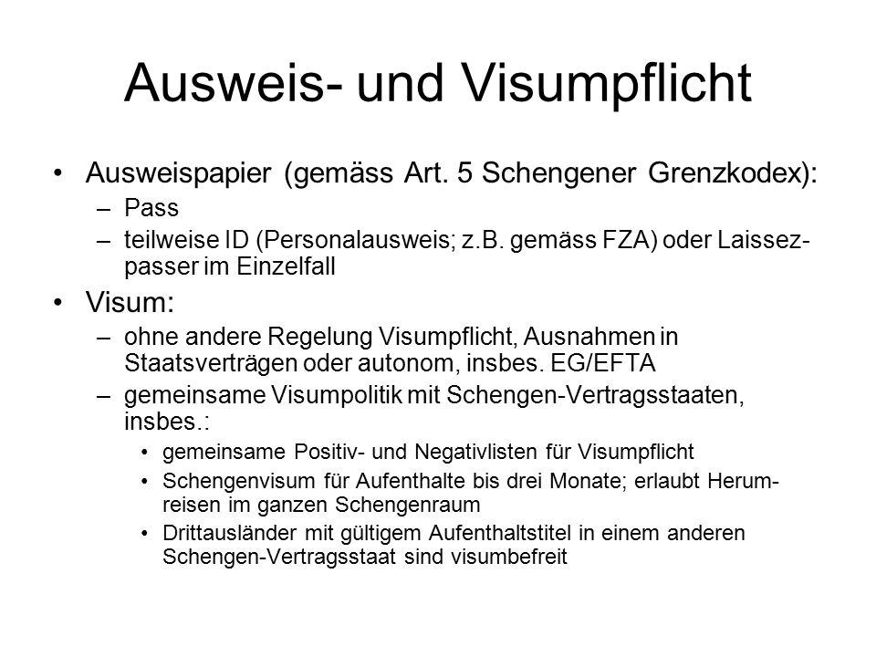Ausweis- und Visumpflicht Ausweispapier (gemäss Art.