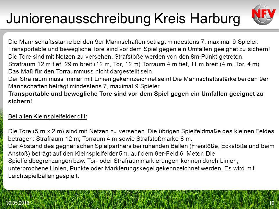 Juniorenausschreibung Kreis Harburg 30.05.201610 Die Mannschaftsstärke bei den 9er Mannschaften beträgt mindestens 7, maximal 9 Spieler.