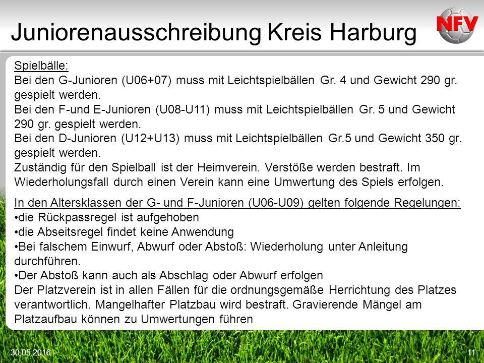 Juniorenausschreibung Kreis Harburg 30.05.201611 Spielbälle: Bei den G-Junioren (U06+07) muss mit Leichtspielbällen Gr.