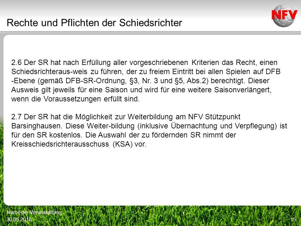 Rechte und Pflichten der Schiedsrichter 30.05.2016 Name der Veranstaltung 15 2.6 Der SR hat nach Erfüllung aller vorgeschriebenen Kriterien das Recht, einen Schiedsrichteraus-weis zu führen, der zu freiem Eintritt bei allen Spielen auf DFB -Ebene (gemäß DFB-SR-Ordnung, §3, Nr.