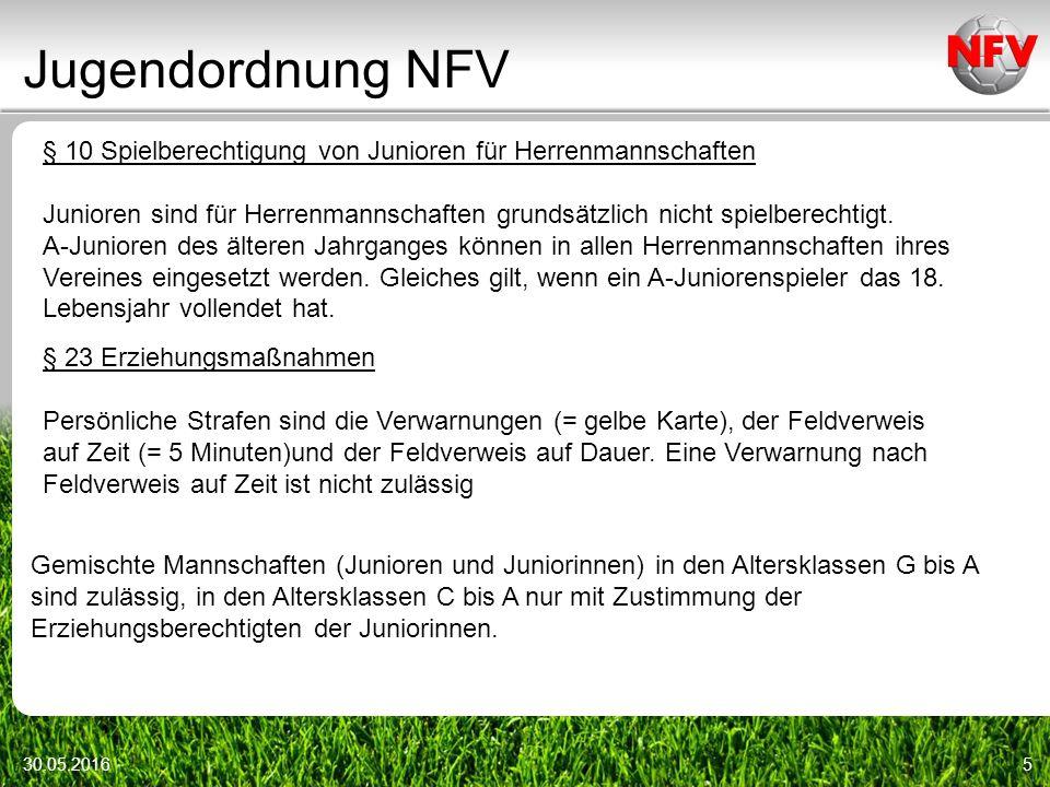 Jugendordnung NFV 30.05.20165 § 10 Spielberechtigung von Junioren für Herrenmannschaften Junioren sind für Herrenmannschaften grundsätzlich nicht spielberechtigt.