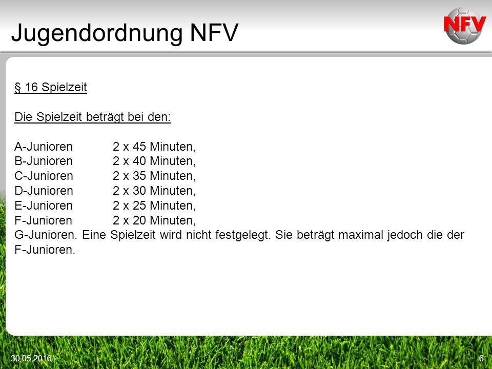 Jugendordnung NFV 30.05.20166 § 16 Spielzeit Die Spielzeit beträgt bei den: A-Junioren2 x 45 Minuten, B-Junioren2 x 40 Minuten, C-Junioren2 x 35 Minuten, D-Junioren2 x 30 Minuten, E-Junioren2 x 25 Minuten, F-Junioren2 x 20 Minuten, G-Junioren.