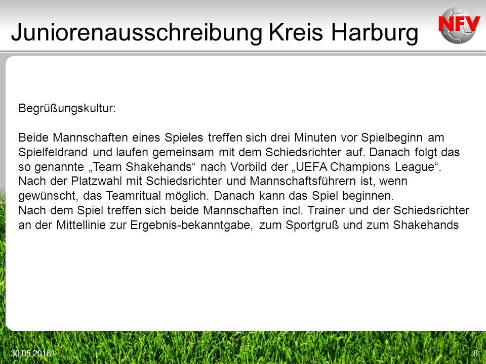Juniorenausschreibung Kreis Harburg 30.05.20168 Begrüßungskultur: Beide Mannschaften eines Spieles treffen sich drei Minuten vor Spielbeginn am Spielfeldrand und laufen gemeinsam mit dem Schiedsrichter auf.