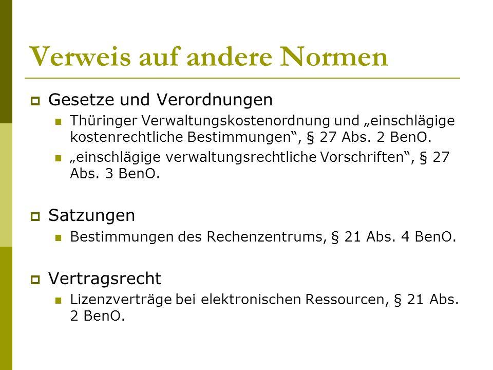 """Verweis auf andere Normen  Gesetze und Verordnungen Thüringer Verwaltungskostenordnung und """"einschlägige kostenrechtliche Bestimmungen , § 27 Abs."""