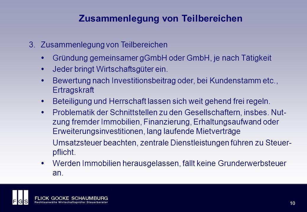 FLICK GOCKE SCHAUMBURG 10 Zusammenlegung von Teilbereichen 3.Zusammenlegung von Teilbereichen  Gründung gemeinsamer gGmbH oder GmbH, je nach Tätigkeit  Jeder bringt Wirtschaftsgüter ein.