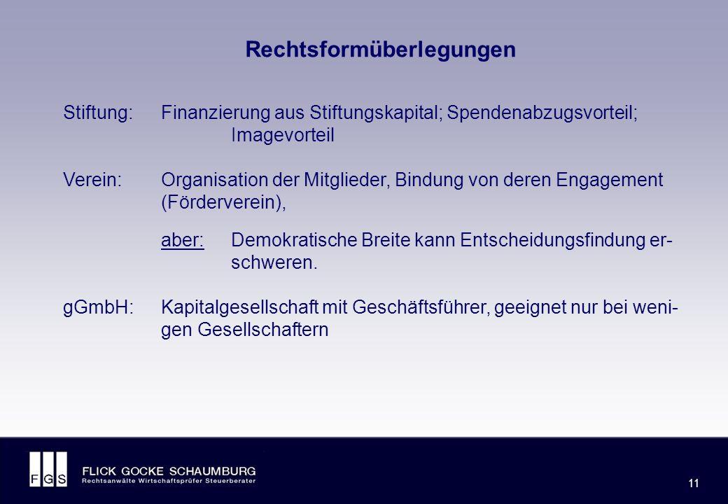 FLICK GOCKE SCHAUMBURG 11 Rechtsformüberlegungen Stiftung:Finanzierung aus Stiftungskapital; Spendenabzugsvorteil; Imagevorteil Verein:Organisation der Mitglieder, Bindung von deren Engagement (Förderverein), aber: Demokratische Breite kann Entscheidungsfindung er- schweren.