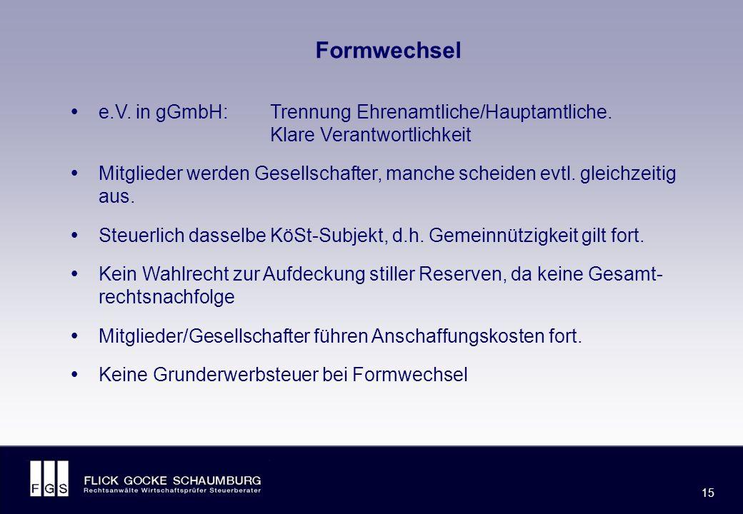FLICK GOCKE SCHAUMBURG 15 Formwechsel  e.V. in gGmbH: Trennung Ehrenamtliche/Hauptamtliche.