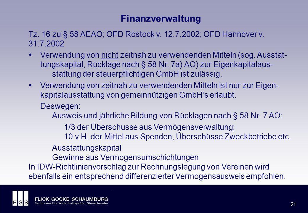 FLICK GOCKE SCHAUMBURG 21 Finanzverwaltung Tz. 16 zu § 58 AEAO; OFD Rostock v.