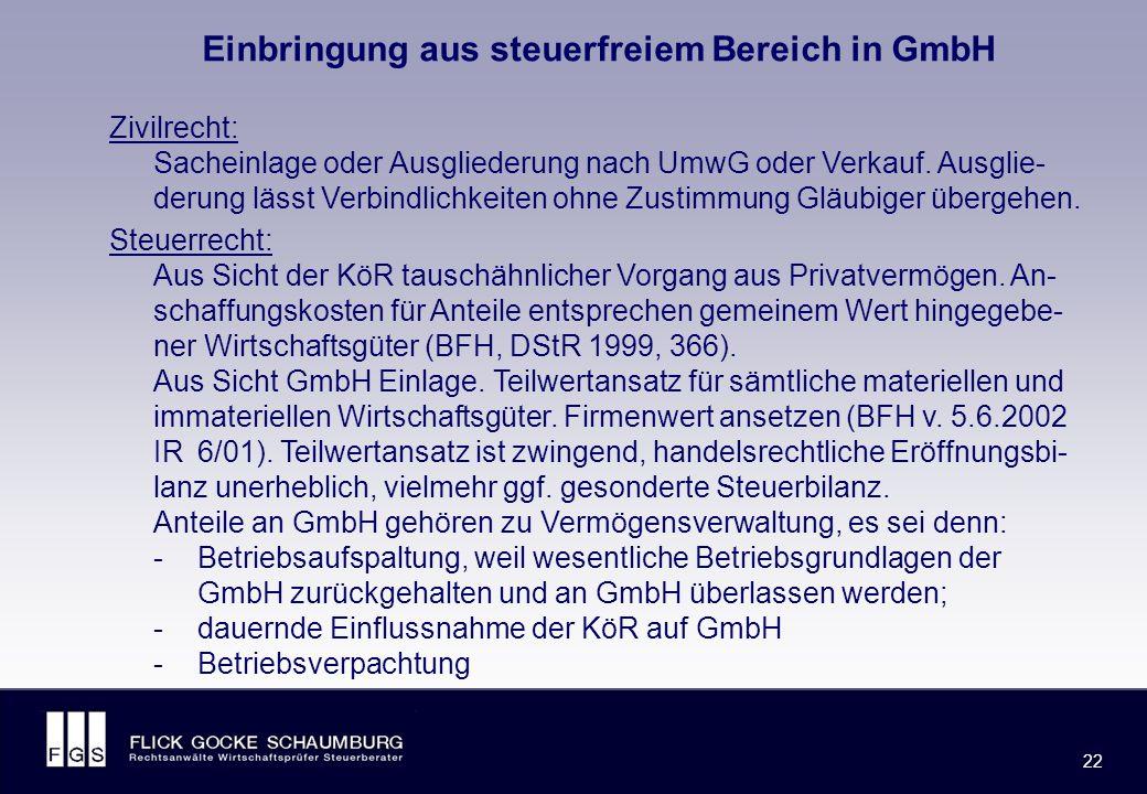 FLICK GOCKE SCHAUMBURG 22 Einbringung aus steuerfreiem Bereich in GmbH Zivilrecht: Sacheinlage oder Ausgliederung nach UmwG oder Verkauf.