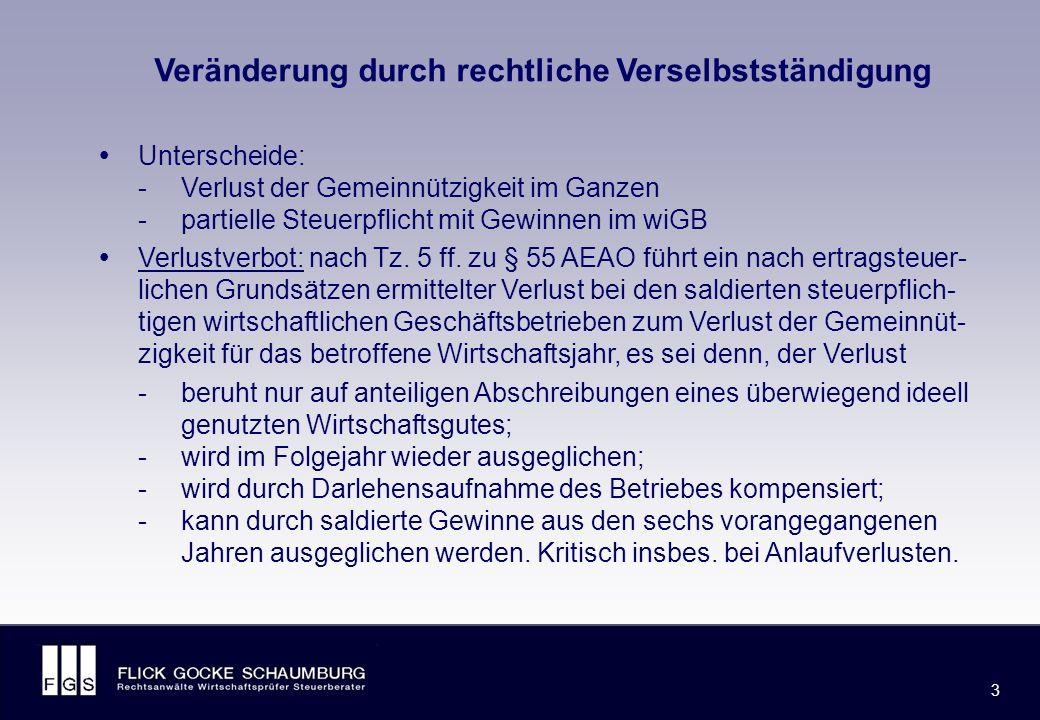 FLICK GOCKE SCHAUMBURG 3 3 Veränderung durch rechtliche Verselbstständigung  Unterscheide: -Verlust der Gemeinnützigkeit im Ganzen -partielle Steuerpflicht mit Gewinnen im wiGB  Verlustverbot: nach Tz.