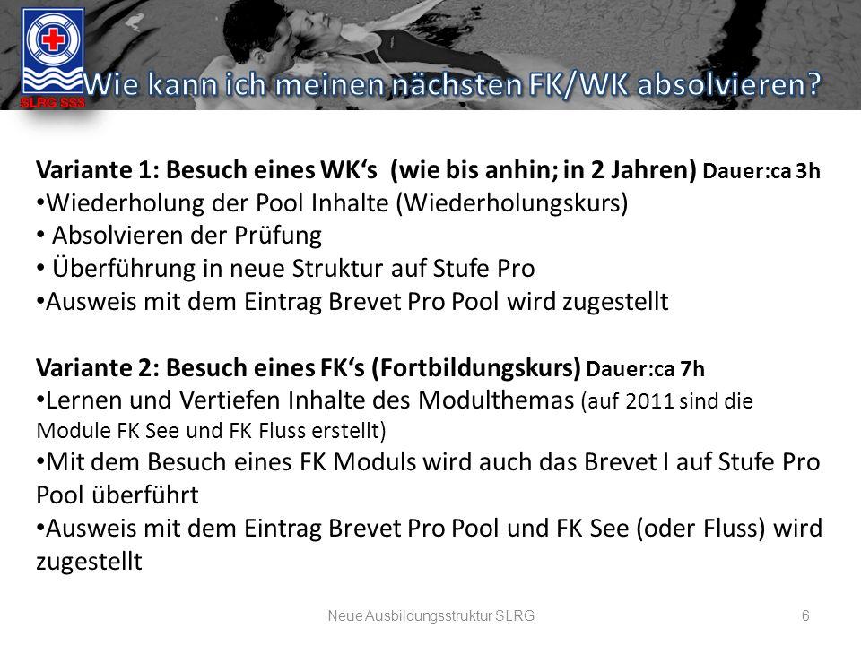 Neue Ausbildungsstruktur SLRG6 Variante 1: Besuch eines WK's (wie bis anhin; in 2 Jahren) Dauer:ca 3h Wiederholung der Pool Inhalte (Wiederholungskurs) Absolvieren der Prüfung Überführung in neue Struktur auf Stufe Pro Ausweis mit dem Eintrag Brevet Pro Pool wird zugestellt Variante 2: Besuch eines FK's (Fortbildungskurs) Dauer:ca 7h Lernen und Vertiefen Inhalte des Modulthemas (auf 2011 sind die Module FK See und FK Fluss erstellt) Mit dem Besuch eines FK Moduls wird auch das Brevet I auf Stufe Pro Pool überführt Ausweis mit dem Eintrag Brevet Pro Pool und FK See (oder Fluss) wird zugestellt