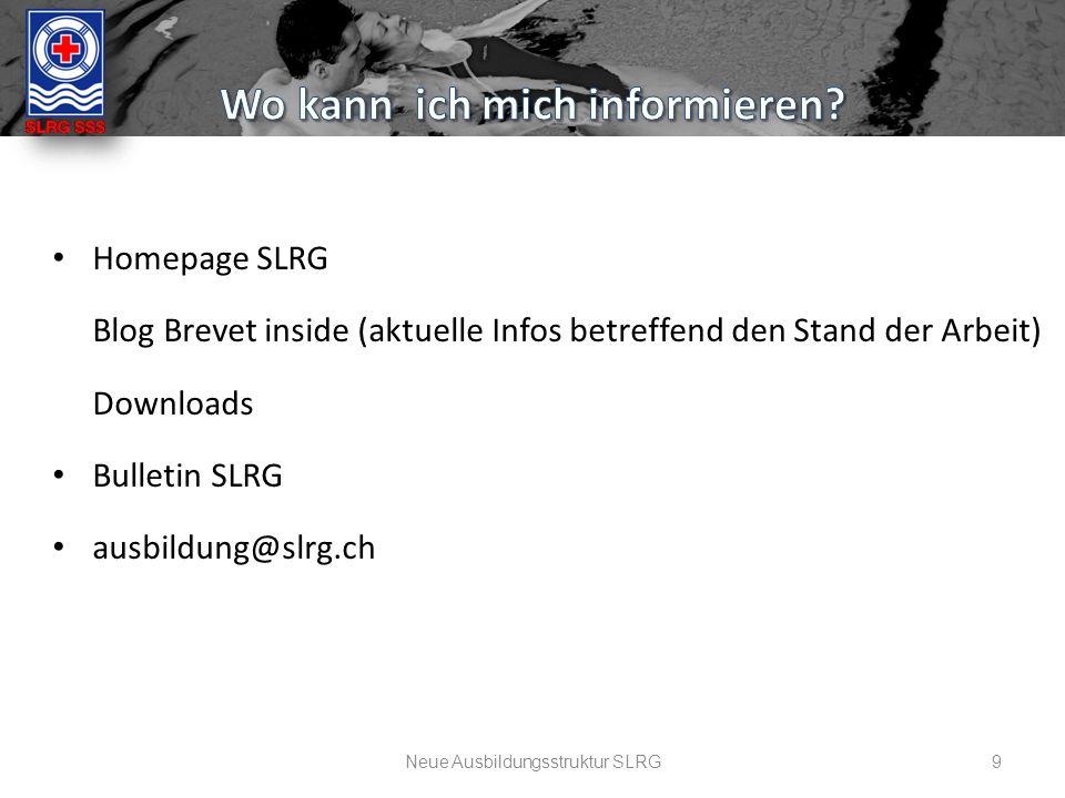 9 Homepage SLRG Blog Brevet inside (aktuelle Infos betreffend den Stand der Arbeit) Downloads Bulletin SLRG ausbildung@slrg.ch Neue Ausbildungsstruktur SLRG