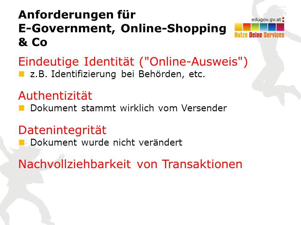 Anforderungen für E-Government, Online-Shopping & Co Eindeutige Identität ( Online-Ausweis ) z.B.