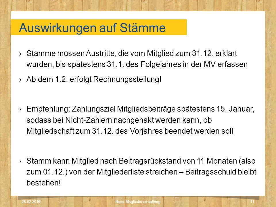 Auswirkungen auf Stämme ›Stämme müssen Austritte, die vom Mitglied zum 31.12. erklärt wurden, bis spätestens 31.1. des Folgejahres in der MV erfassen
