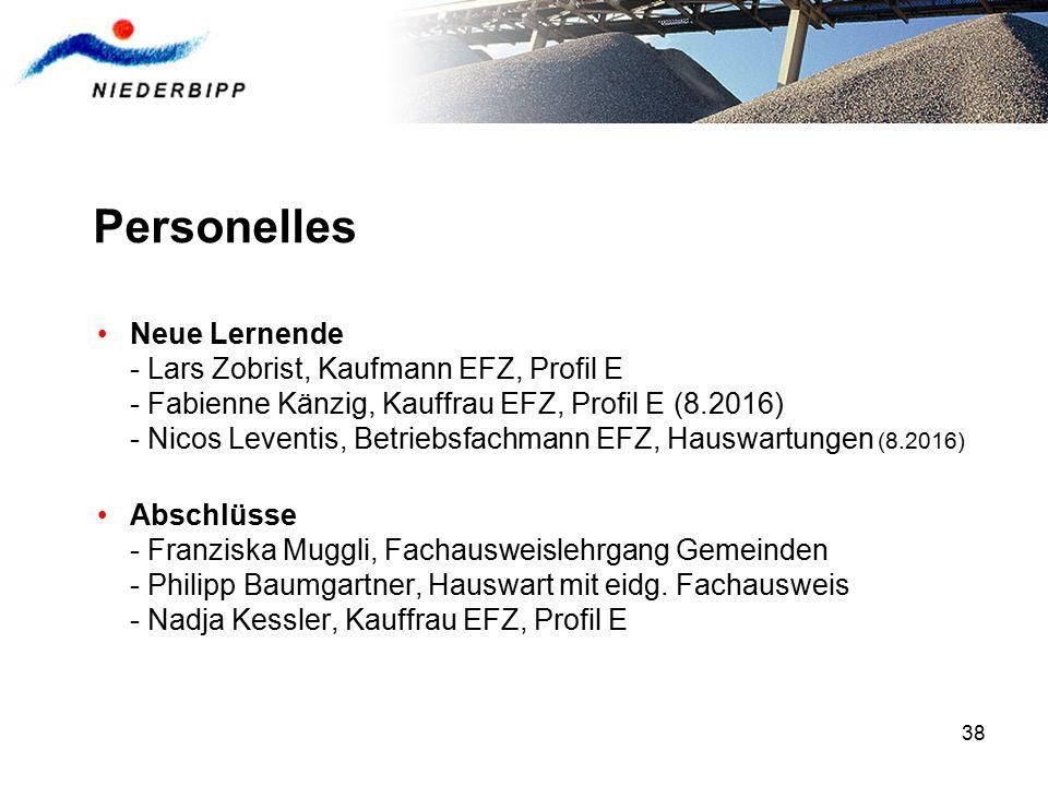 38 Personelles Neue Lernende - Lars Zobrist, Kaufmann EFZ, Profil E - Fabienne Känzig, Kauffrau EFZ, Profil E (8.2016) - Nicos Leventis, Betriebsfachm