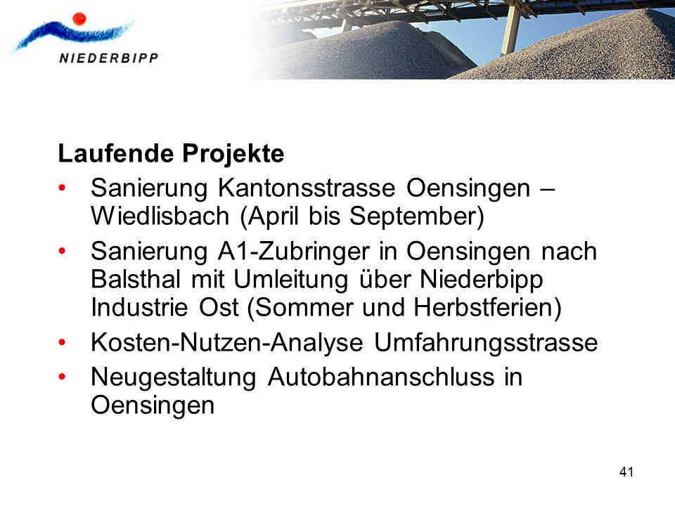 41 Laufende Projekte Sanierung Kantonsstrasse Oensingen – Wiedlisbach (April bis September) Sanierung A1-Zubringer in Oensingen nach Balsthal mit Umle