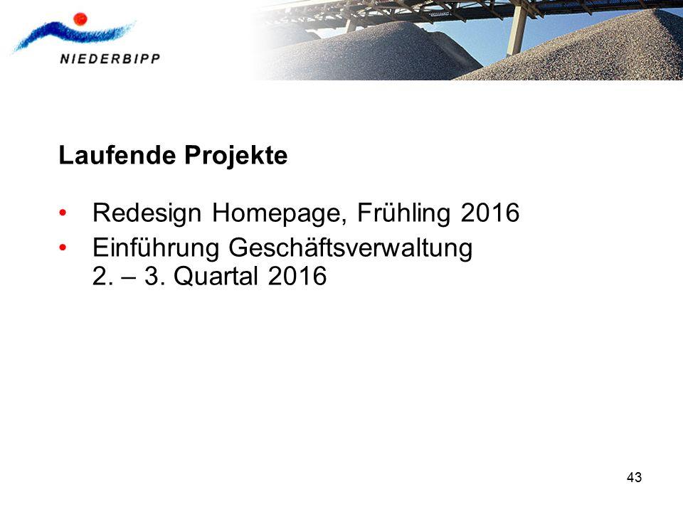 43 Laufende Projekte Redesign Homepage, Frühling 2016 Einführung Geschäftsverwaltung 2. – 3. Quartal 2016