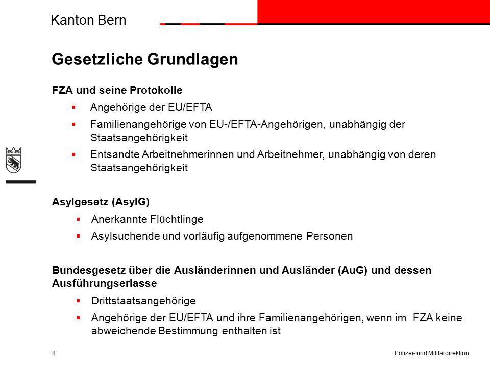 Kanton Bern Gesetzliche Grundlagen Polizei- und Militärdirektion8 FZA und seine Protokolle  Angehörige der EU/EFTA  Familienangehörige von EU-/EFTA-Angehörigen, unabhängig der Staatsangehörigkeit  Entsandte Arbeitnehmerinnen und Arbeitnehmer, unabhängig von deren Staatsangehörigkeit Asylgesetz (AsylG)  Anerkannte Flüchtlinge  Asylsuchende und vorläufig aufgenommene Personen Bundesgesetz über die Ausländerinnen und Ausländer (AuG) und dessen Ausführungserlasse  Drittstaatsangehörige  Angehörige der EU/EFTA und ihre Familienangehörigen, wenn im FZA keine abweichende Bestimmung enthalten ist