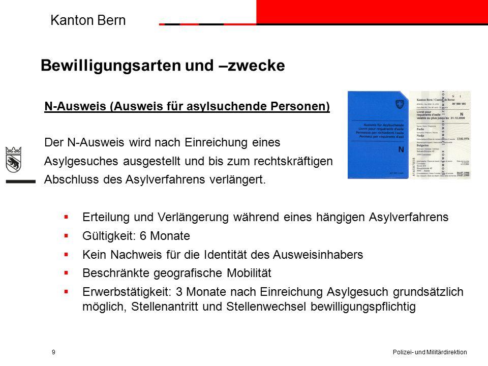 Kanton Bern Bewilligungsarten und –zwecke N-Ausweis (Ausweis für asylsuchende Personen) Der N-Ausweis wird nach Einreichung eines Asylgesuches ausgest