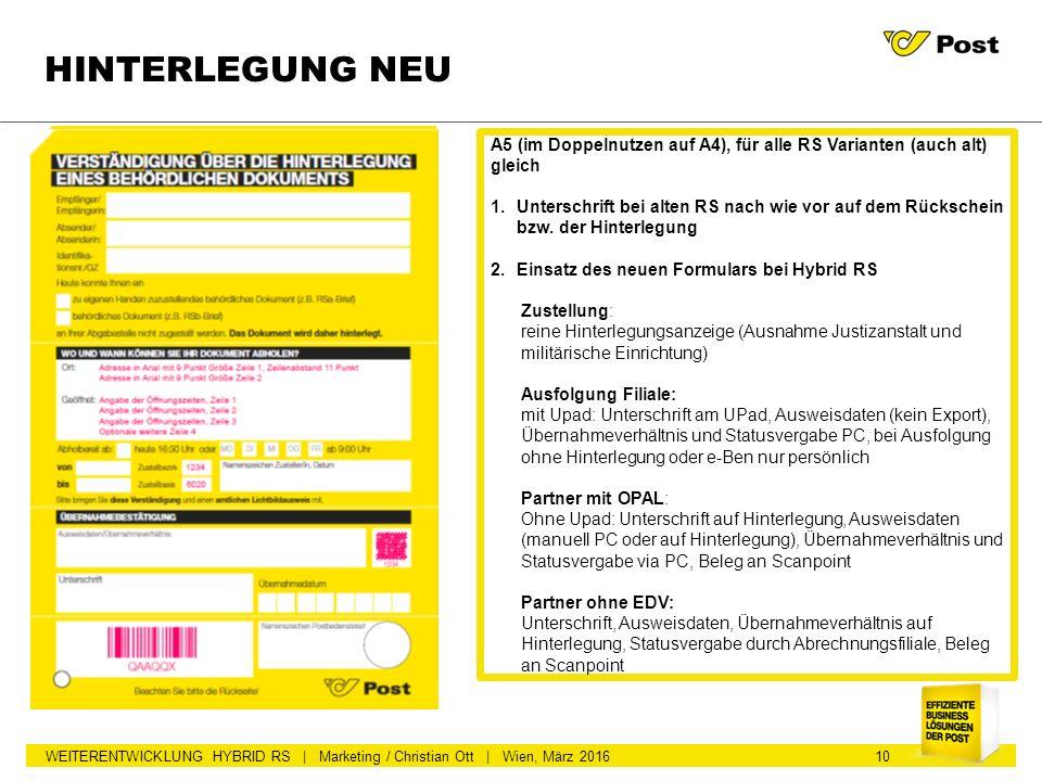 WEITERENTWICKLUNG HYBRID RS | Marketing / Christian Ott | Wien, März 2016 HINTERLEGUNG NEU A5 (im Doppelnutzen auf A4), für alle RS Varianten (auch al
